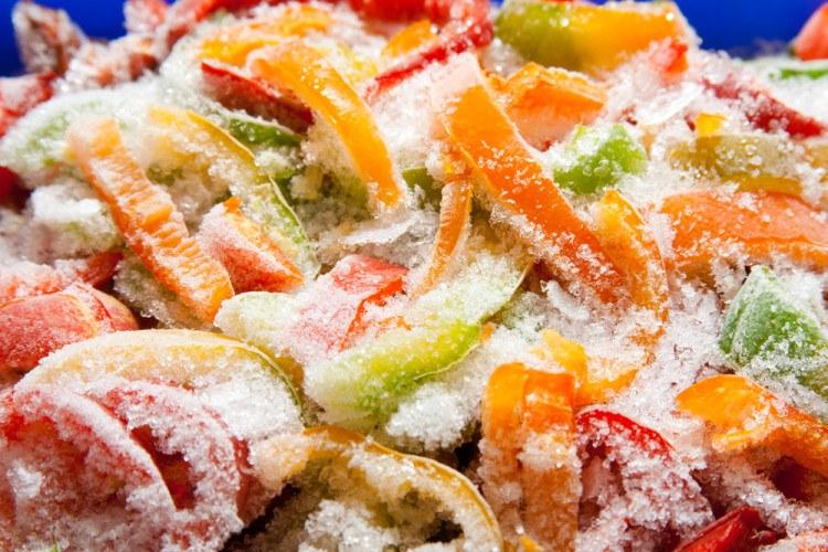 A closeup of freezer burnt veggies.