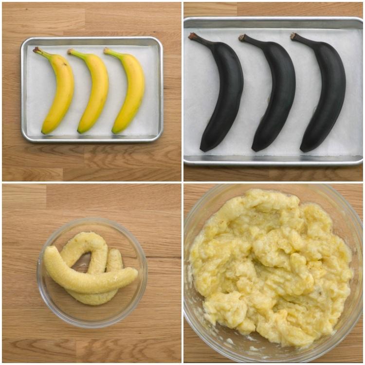 Soften bananas in oven for banana bread