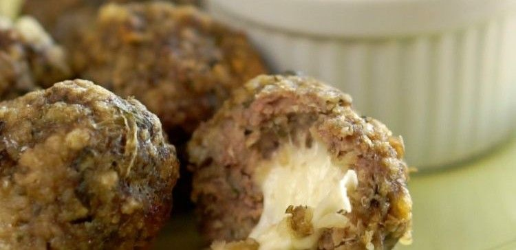 Image of mozzarella-stuffed meatballs