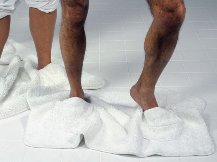 Image of bath mat slippers