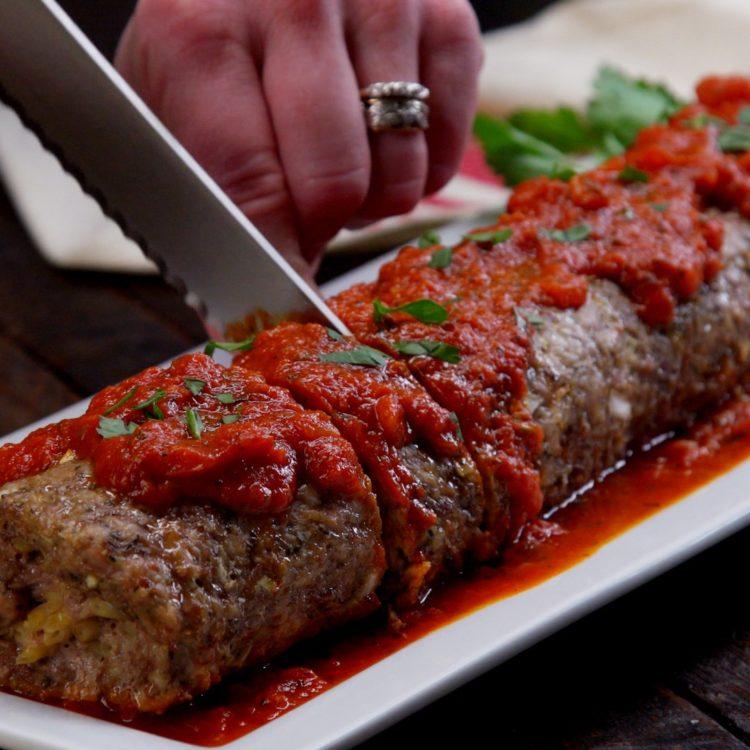 Pasta Stuffed Meatloaf Roll