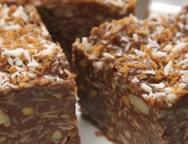 Close-up of no-bake peanut butter chocolate coconut bars