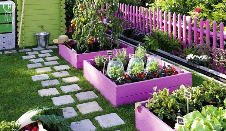 colorful planters and fence