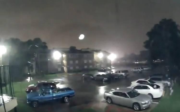 Parking lot before flood.
