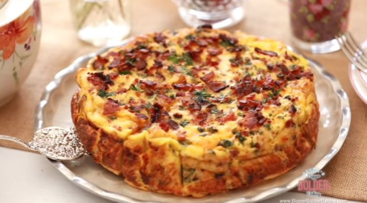 Bacon and cheese strata for Mother's Day brunch
