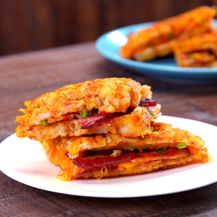 Tater Tot Grilled Cheese bacon sandwich plated