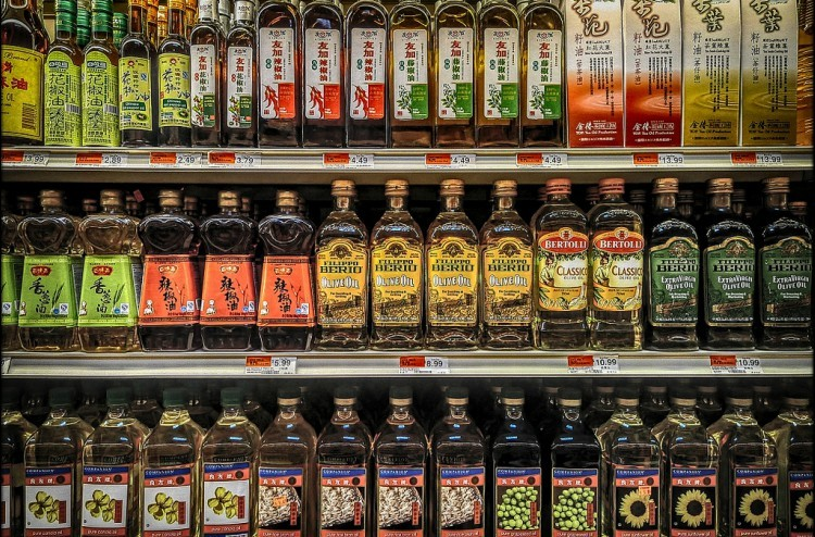 shelves of various cooking oils