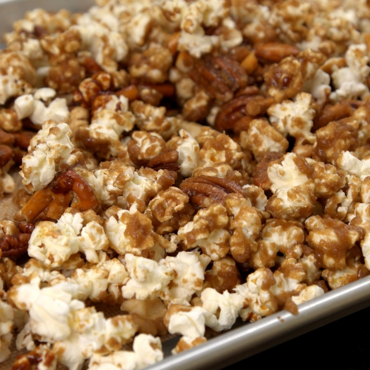 Bake popcorn mixture for 30 minutes