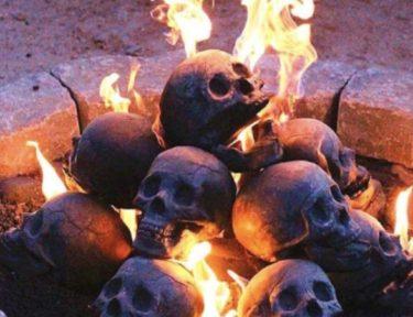 skulls in fire pit