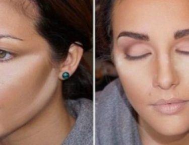 splitscreen of woman contouring her face