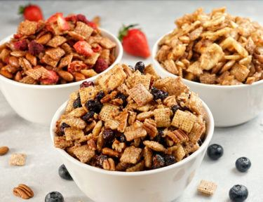 Three easy, no-bake Blueberry Chex party mixes with all of the fresh-picked flavors of summer: Blueberry Crumble, Mixed Berry, and Banana CocoNut.