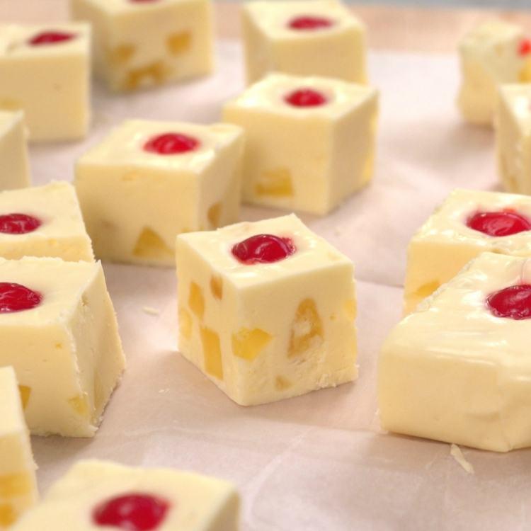 Pieces of fudge that tastes like pineapple upside-down cake