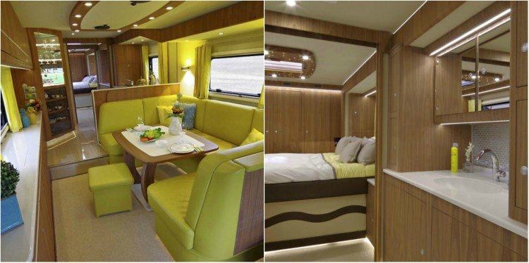 Image of luxury motorhome inside.
