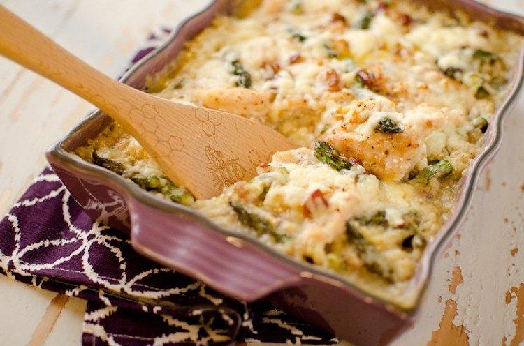 asparagus chicken quinoa bake