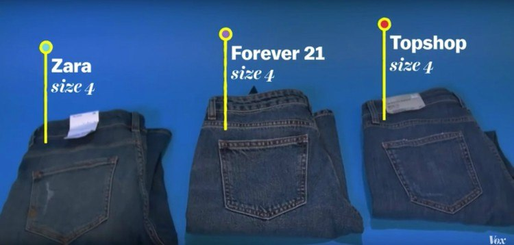 Pic of three pairs of jeans.