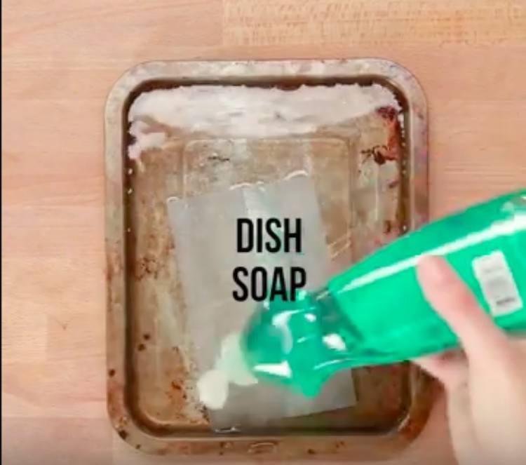 dish soap on pan
