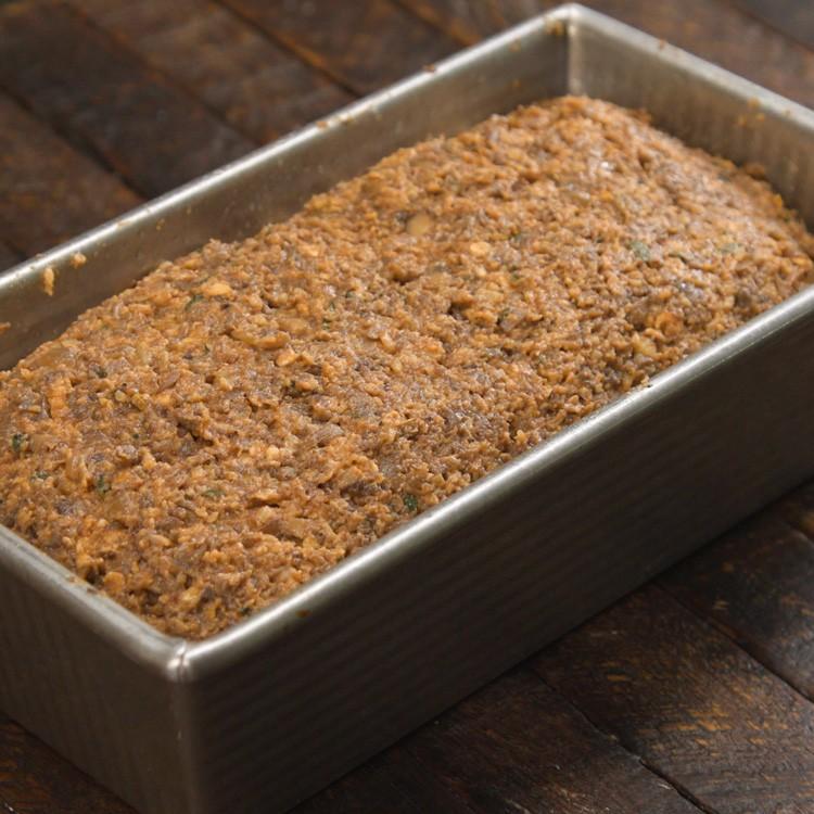 Vegetarian Mushroom Meatloaf in loaf pan