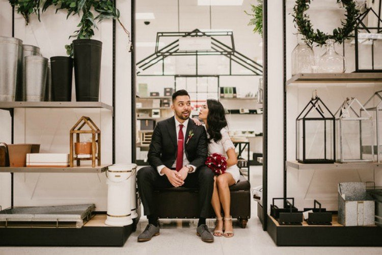 Image of couple doing wedding shoot in Target.