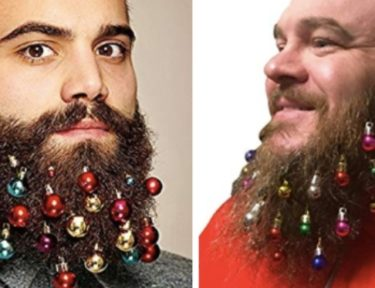 men modeling beard ornaments