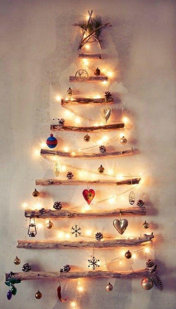 Fake Christmas tree made on a wall.
