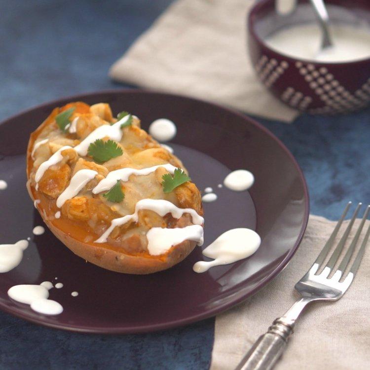 Twice-baked loaded sweet potato made enchilada style