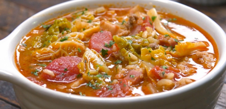 Close-up of bowl of cabbage roll soup
