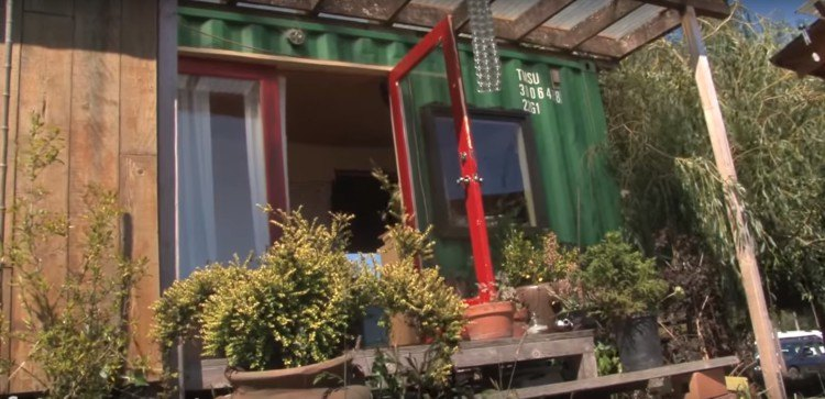 Outside of the shipping container turned into a home.