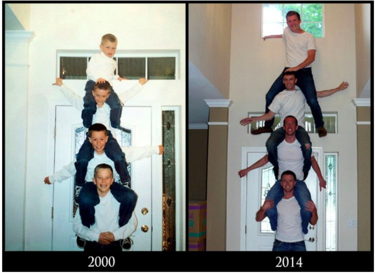 Image of four friends reenactment photo