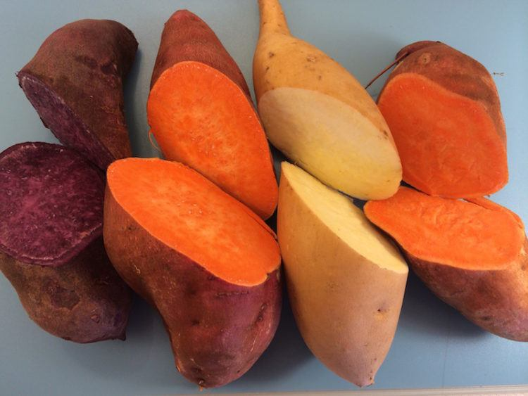 Various types of sweet potatoes.