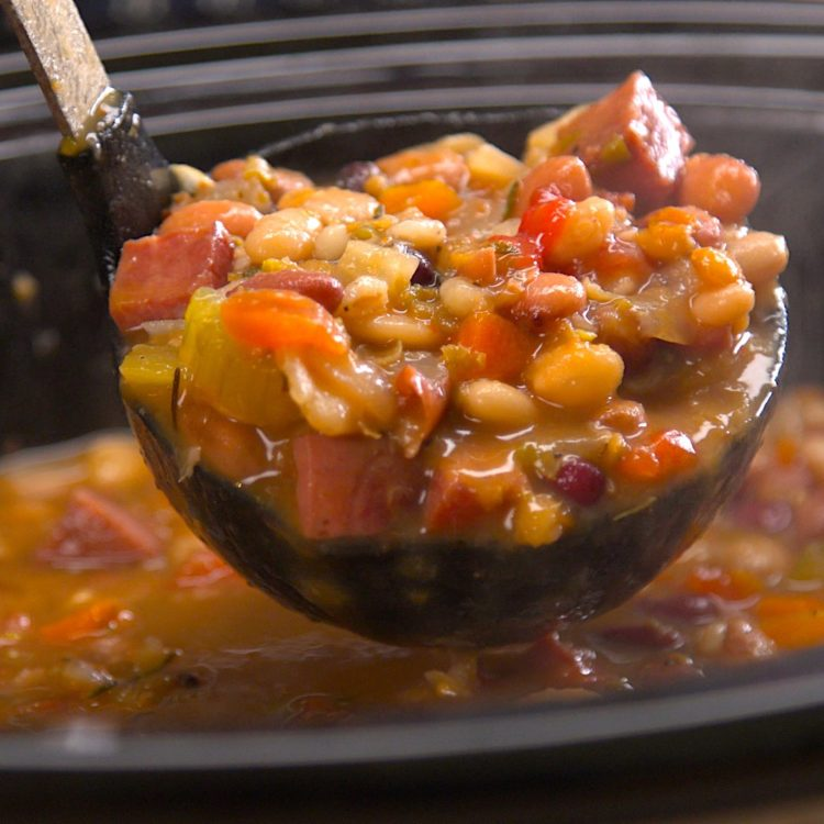 Slow Cooker Ham & Bean Soup ladling