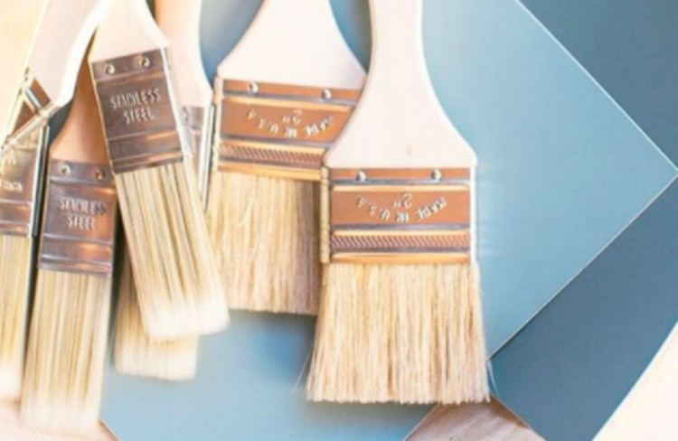 paint brushes and paper swatches