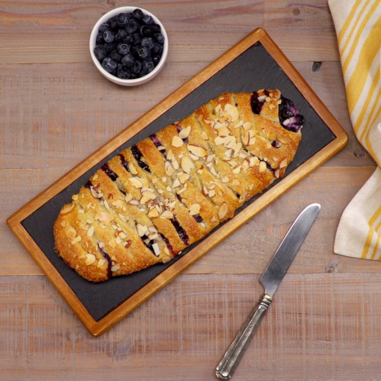 Blueberry Breakfast Braid whole thing overhead shot no icing