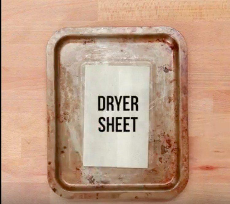 dryer sheet in pan