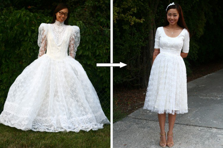 Image of wedding dress makeover.