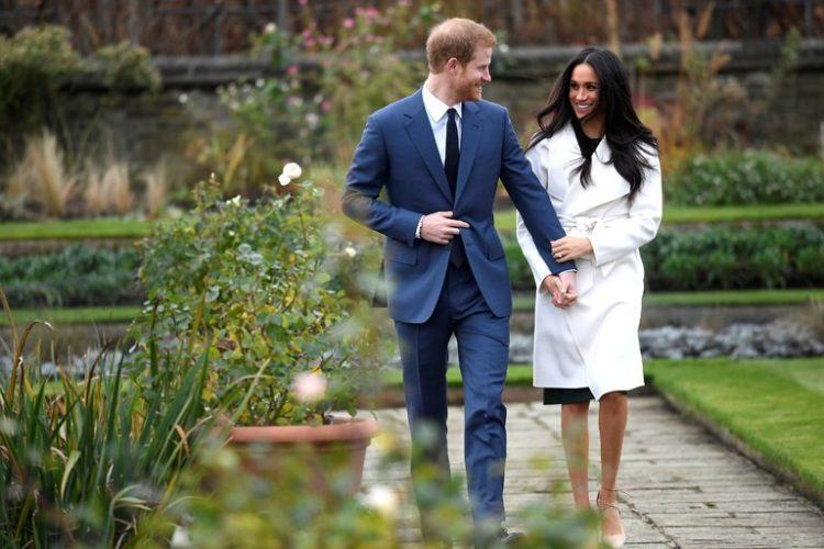 Harry and Meghan before their press conference.