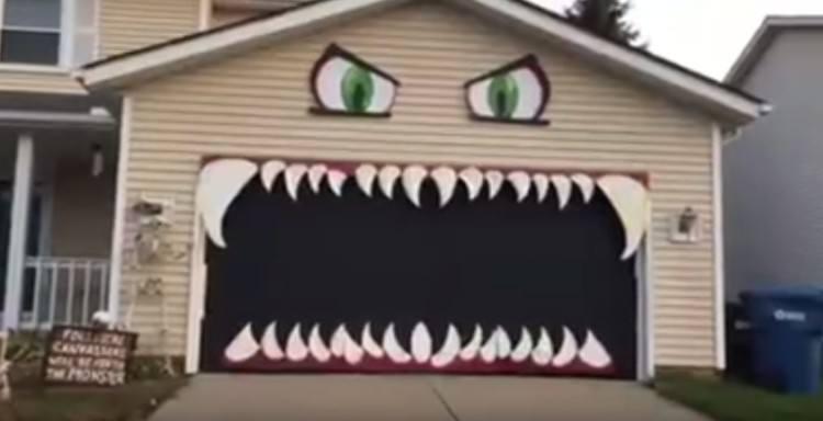 Monster mouth garage door when closed.