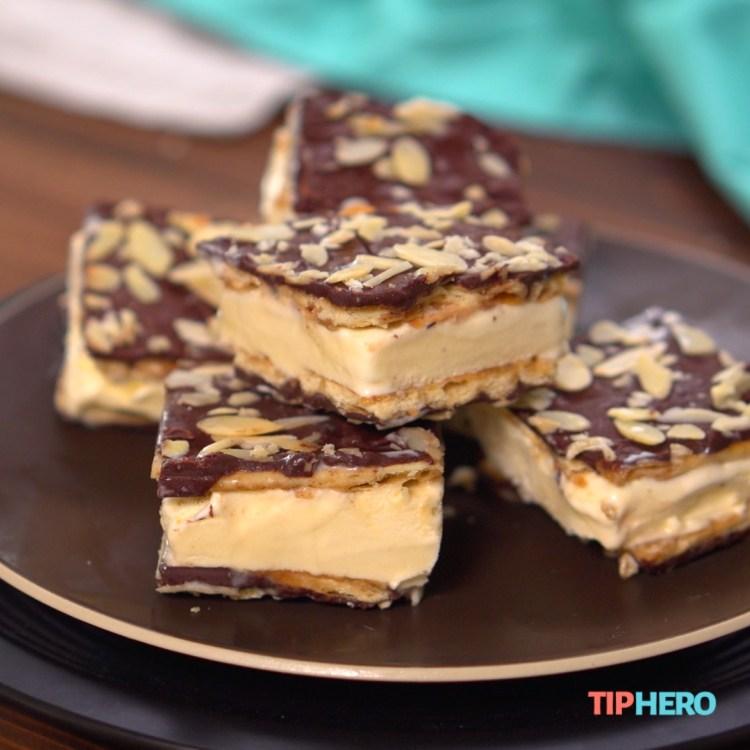Chocolate-and-almond-coated saltine ice cream sandwiches