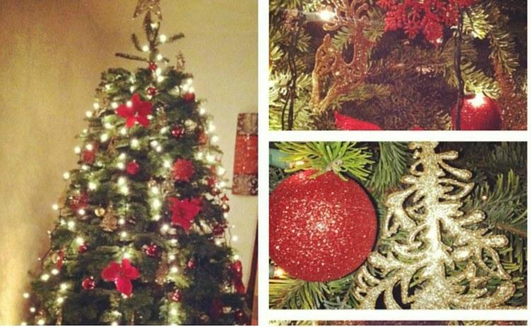 Image of vertically hung Christmas lights.