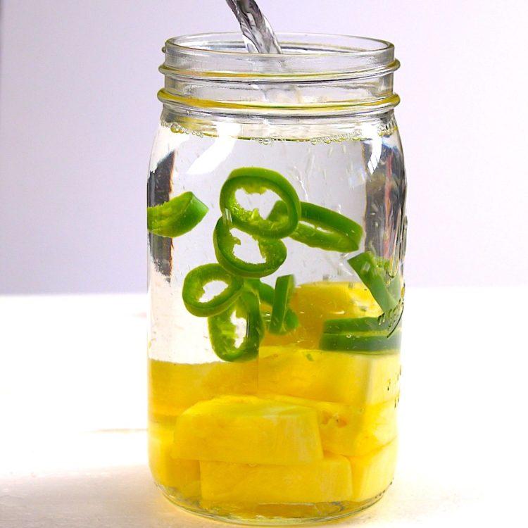 Fruit Infused Detox Water pineapple jalapeño mason jar