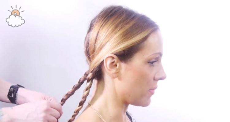 Braiding the two section of your Heidi braid