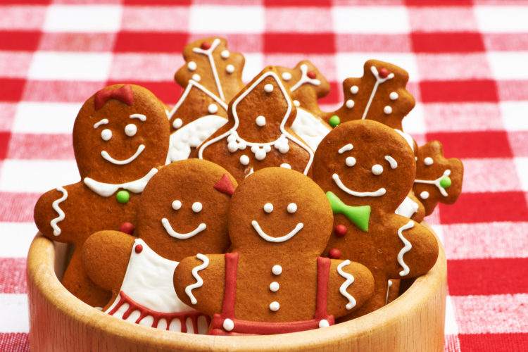 Image of Christmas homemade gingerbread cookies on table