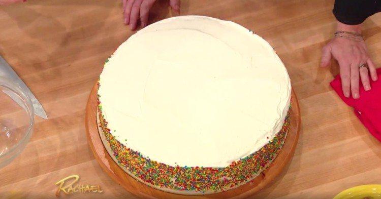 Plain, round cake.