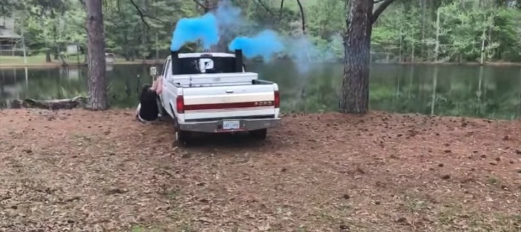 Colored smoke truck gender reveal goes wrong