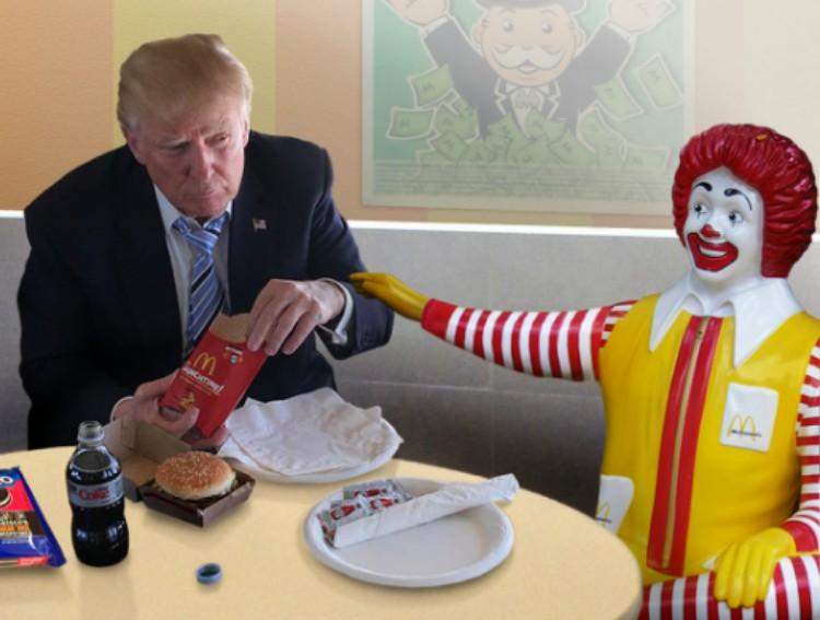 Image of Donald Trump at McDonald's.