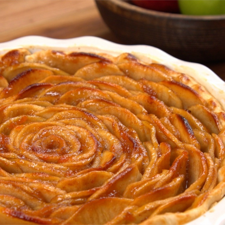 Apple pie baked in shape of rose