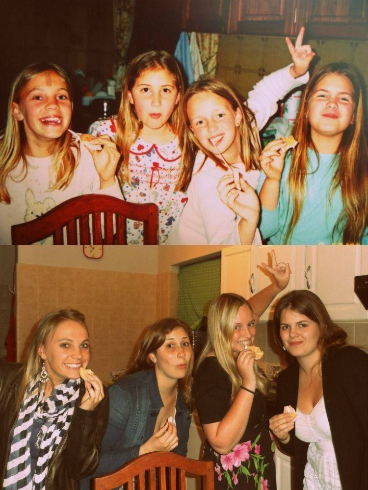 Image of four friends years later