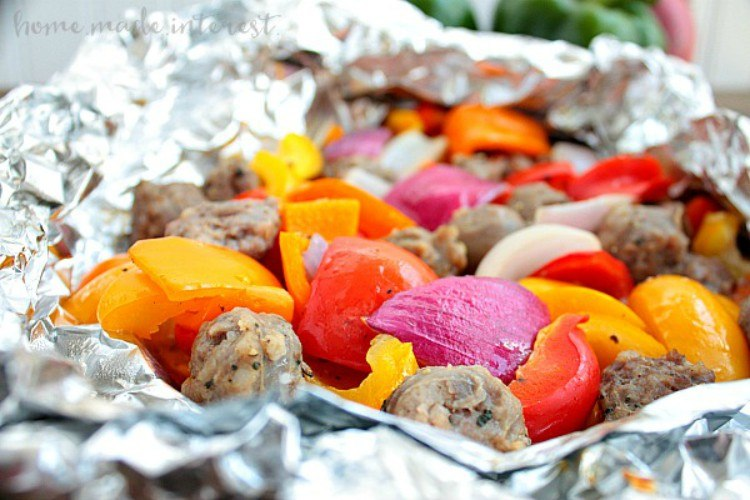 Foil packet with sausage and veggies.