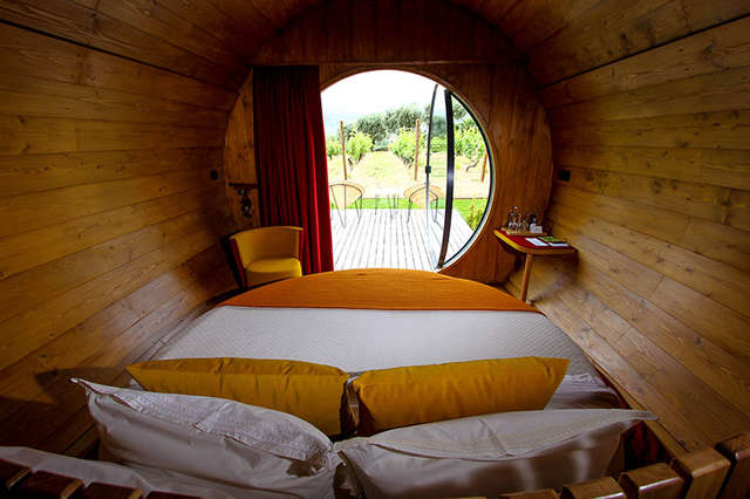 Image of wine barrel you can sleep in