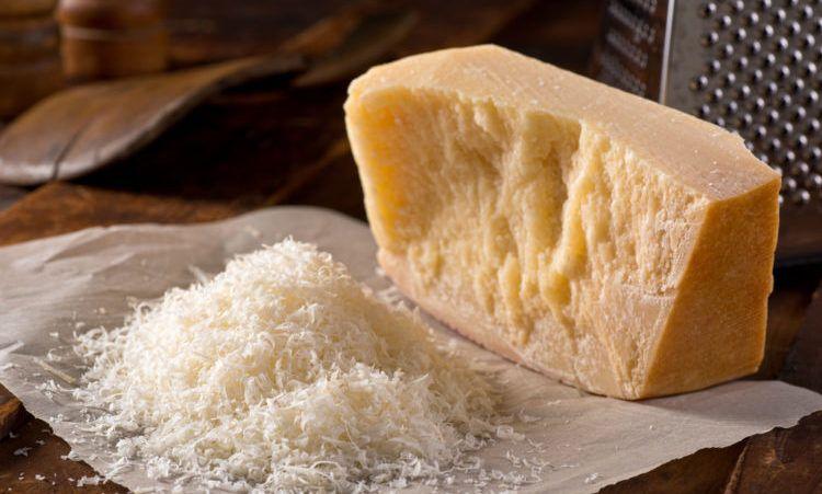 Freshly grated parmigiano reggiano parmesan cheese.