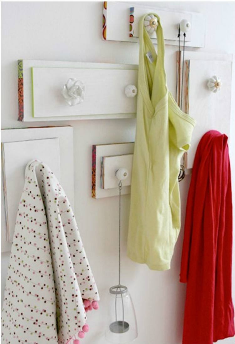 Fronts of drawers used as hangers.